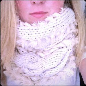 Ann Taylor Loft Faux Fur & Crochet Infinity Scarf
